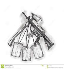 crossed fire ax and m4 rifle dog tags tattoo stock illustration