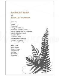 Wedding Program Templates Word Printable Fern Flourish Wedding Program Template