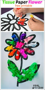 tissue paper flower art activity art activities flower art and