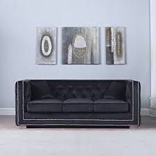 amazon com modern tufted velvet fabric sofa with nailhead trim