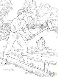 young abe lincoln was good with an axe coloring page free