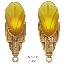 Art Deco Wall Sconces Art Deco Pair Of Antique Slip Shade Wall Sconces By Markel Circa