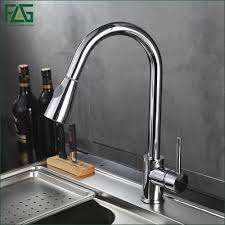 online get cheap kitchen faucets lowes aliexpress com alibaba group flg best quality wholesale and retail pull out brass low pressure kitchen faucet black colour deck
