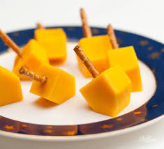 cheese dreidels pretzel sticks pretzels and cheddar
