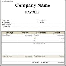 get employee pay slip template format projectmanagersinn excel