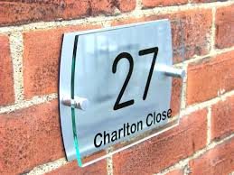 house door gate number plaque wall sign name plate glass acrylic