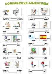 comparative adjectives worksheets for kids education pinterest