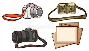 simple sketches of the cameras of a photographer stock vector