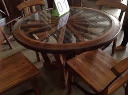 Teak Wood Dining Tables Handcrafted Reclaimed Wagon Wheel Teak Wood Dining Table With