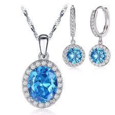 zircon blue necklace images Cubic zirconia blue zircon silver color necklace dangle earrings jpg