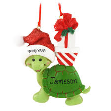 turtle with santa hat personalized ornament penned ornaments