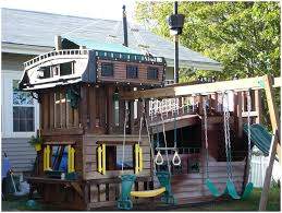 backyards mesmerizing cool pirate ship playhouse with green
