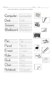 primary school worksheets objects