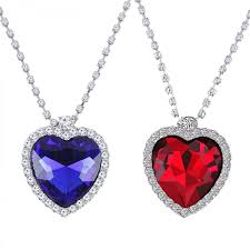heart necklace red images Fasherati blue red heart titanic heart pendant for girls set of 2 jpg