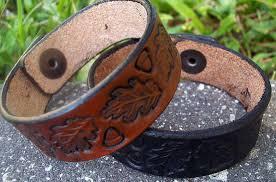 bracelet handmade leather images Handmade leather bracelets vintage tooled oak leaf design old jpg