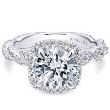 cushion ring gabriel amavida 18k white gold cushion halo diamond engagement ring