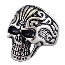 surgical steel band skull ring stainless steel skeleton tribal band