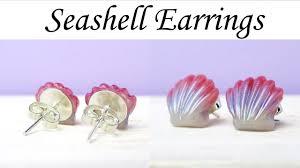 polymer clay stud earrings polymer clay seashell stud earrings tutorial maive ferrando