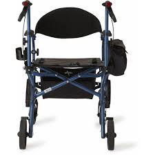 Transport Walker Chair Medline Combination Rollator Transport Wheelchair Blue Walmart Com