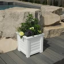 Concrete Planters Home Depot by Mayne Lakeland 16 In Square White Plastic Planter 5866 W The