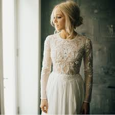 Long Sleeved Wedding Dresses Chic Bohemian Lace Wedding Dress Elite Wedding Looks