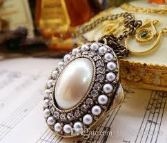 box lockets european style oval pendant necklace vintage pearl gemstone