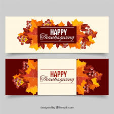 colorful thanksgiving banners with leaves vector free