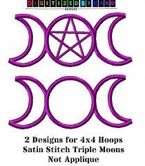 pagan machine embroidery design religious moon
