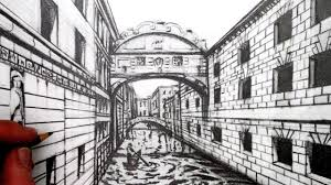 how to draw using 1 point perspective draw a view of venice youtube