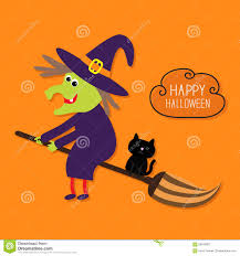 halloween cat background happy halloween witch and black cat cloud in the stock vector