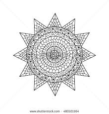 hand drawn sun anti stress colouring stock vector 480101164