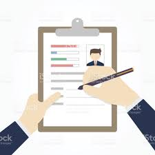 Resume Vector Businessman Hands Fill A Resume Or Application Form Vector