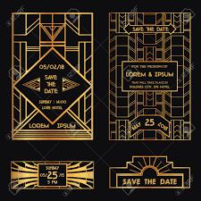 Invitation Card Save The Date Wedding Invitation Card Art Deco Vintage Style