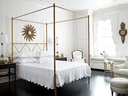 bed design with side table transparent white curtain attractive dark wood side table black bed