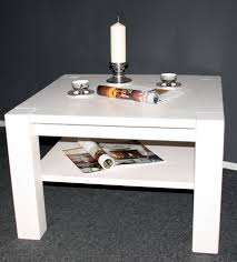 Wohnzimmertisch Holz Quadratisch Couchtisch 90x48x90cm Mit Ablageboden Kiefer Massiv Weiß Lasiert