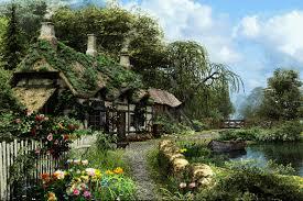 glamorous english cottage house wallpaper boat river garden