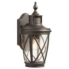 Outdoor Ceiling Light Motion Sensor Shop Allen Roth Castine 13 78 In H Rubbed Bronze Motion