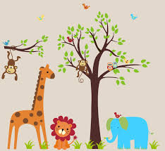 Jungle Nursery Wall Decor Interior Marvelous Animal Wall Decals For Rooms Design Ideas