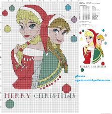 elsa anna merry christmas cross stitch pattern los bordados