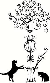 vintage coat rack tree with dog and cat vinyl wall decal graphic
