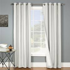 White Faux Silk Curtains Two Panels Blackout White Grommet Faux Silk Window Curtain Lined