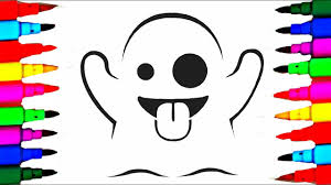 learning colors coloring emoji ghost casper coloring pages