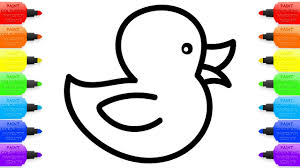 how to draw rubber duck for baby drawings and coloring book