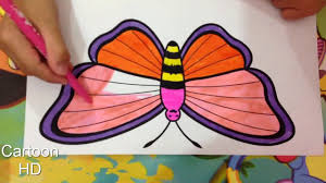 learn colors kids color rainbow butterfly coloring