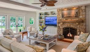 cottage living room with ballard designs eton loveseat slipcover