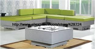 Rattan Table L Garden Furniture Modern L Shaped Green Rattan Sofa Table Set
