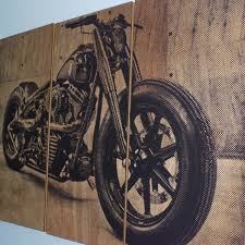 motorcycle home decor harley davidson motorcycle bike print on wood painting