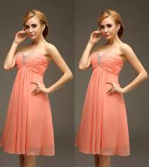 short knee length coral empire maternity bridesmaids dresses for