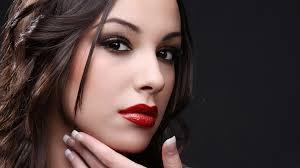 girls with cute beautiful red lip stick desktop background