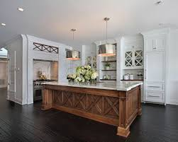 wood kitchen cabinets with white island gorgeous space the silver drum pendants fleming